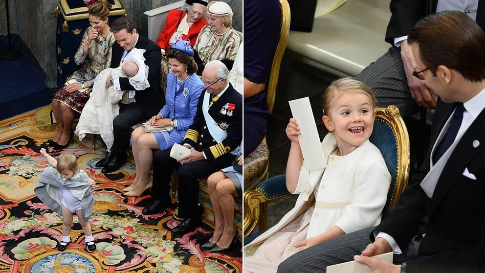 Inte lätt att sitta still så länge. Prinsessorna Leonore och Estelle spexade loss under ceremonin.