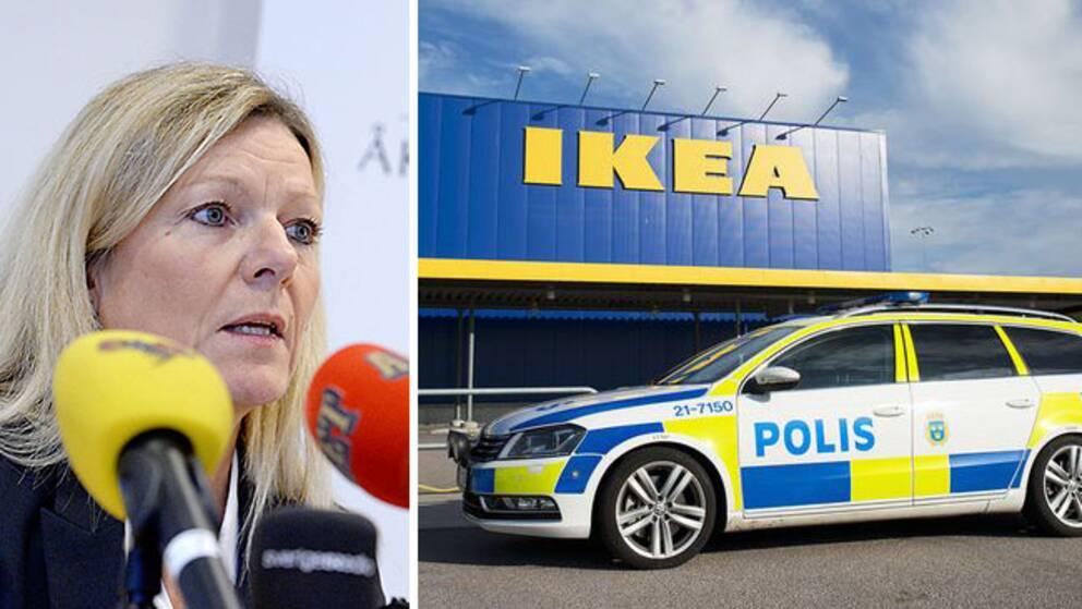 Åklagare Eva Morén vid presskonferensen om åtalet efter Ikea-morden