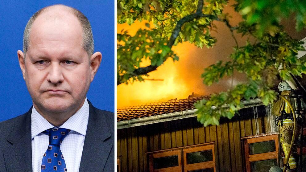 """Efter bränderna mot flera flyktingboenden runt om i landet säger rikspolischef Dan Eliasson att beredskapen höjs. """"Hör av er till oss om ni ser något oroväckande"""", säger Eliasson i SVT:s Gomorron Sverige."""