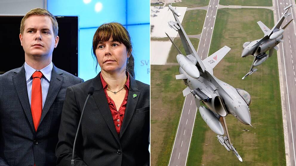 Miljöpartiets språkrör utmanas av två av de egna riksdagledamöterna om Nato-avtalet.