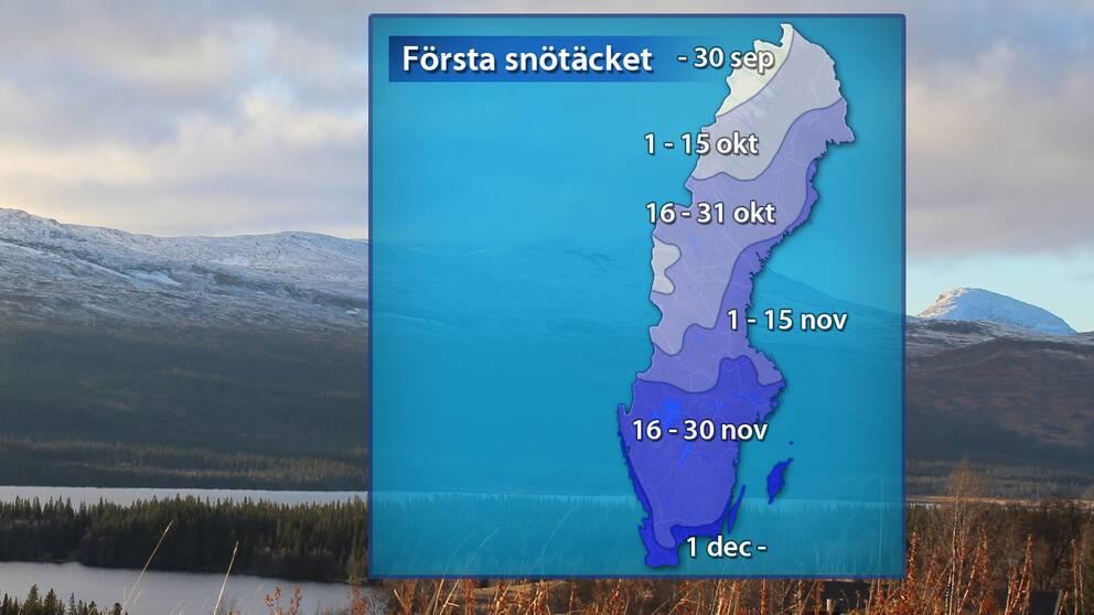 Genomsnittlig datum för när snön brukar lägga sig för första gången under hösten.