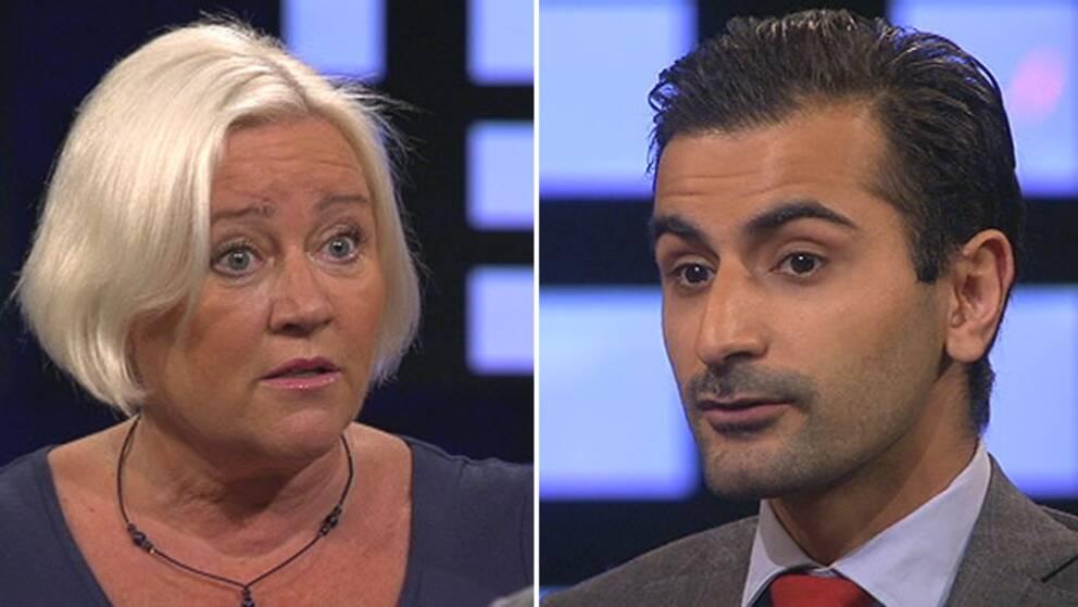 Elisabeth Dahlin, Rädda Barnen och Hanif Bali (M) i debatt i Agenda