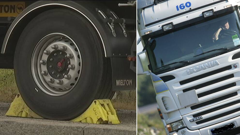 Till vänster lastbil med klampat däck.