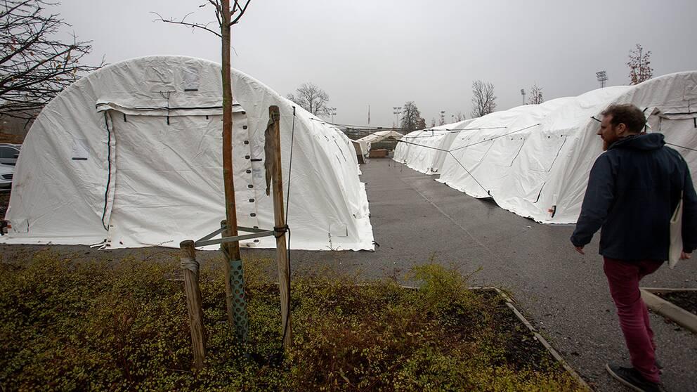 Tält för nyanlända asylsökande vid Migrationsverkets kundcenter i Malmö.