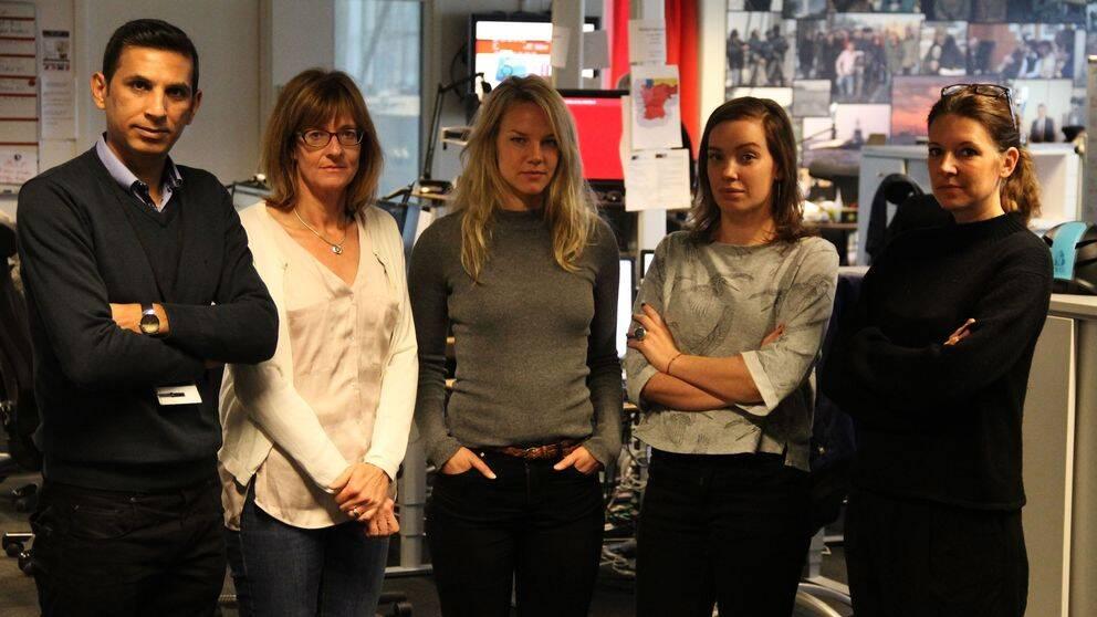 Firas Razak, fotograf, Ylva Esping, Natalie Medic och Tove Hansson, reportrar. Längst till höger redaktören Helena Petersen Schön.