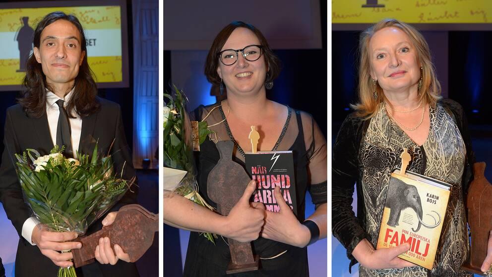 Jonas Hassen Khemiri, Jessica Schiefauer och Karin Bojs är 2015 års Augustvinnare.