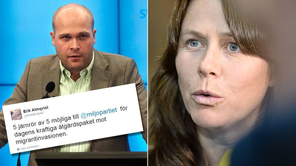 Erik Almqvist twittrade om MP-beskedet.