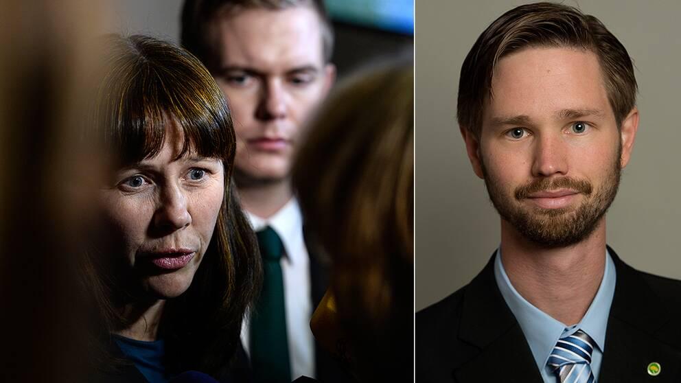 MP:s språkrör åsa Romson och Gustav Fridolin, till höger Riksdagsledamoten Rasmus Ling.