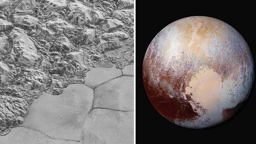 En högupplöst bild från rymdsonden New Horizon visar stora isblock på Plutoskorpan från ett ställe som kallas al-Idrisi-bergen.