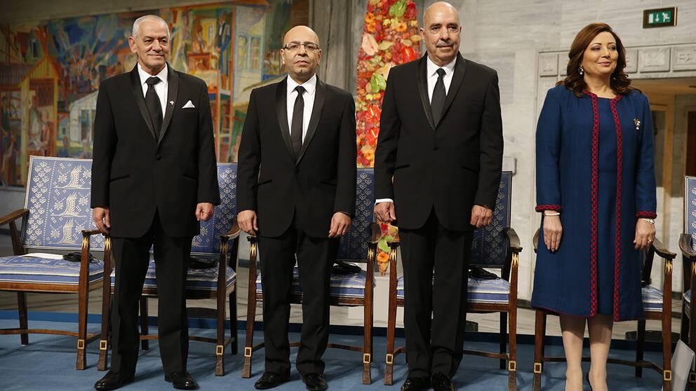 Houcine Abassi, Mohamed Fadhel Mahfoudh, Abdessattar Ben Moussa och Ouided Bouchamaoui.
