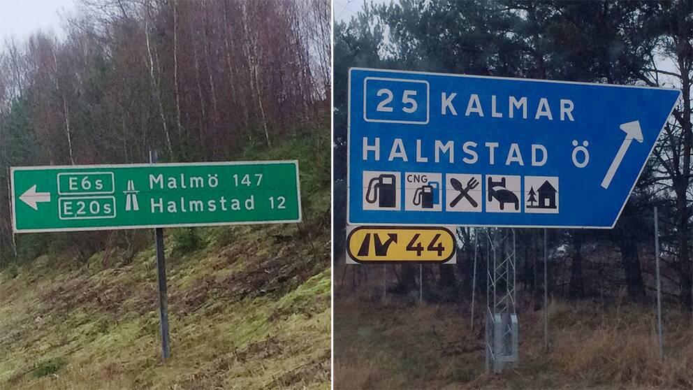 Vägskyltar med gemena bokstäver och med versala – dansk modell versus svensk modell.