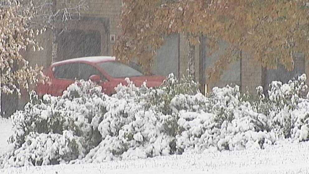 Det första egentliga snöfallet i Östersund den 16 oktober.