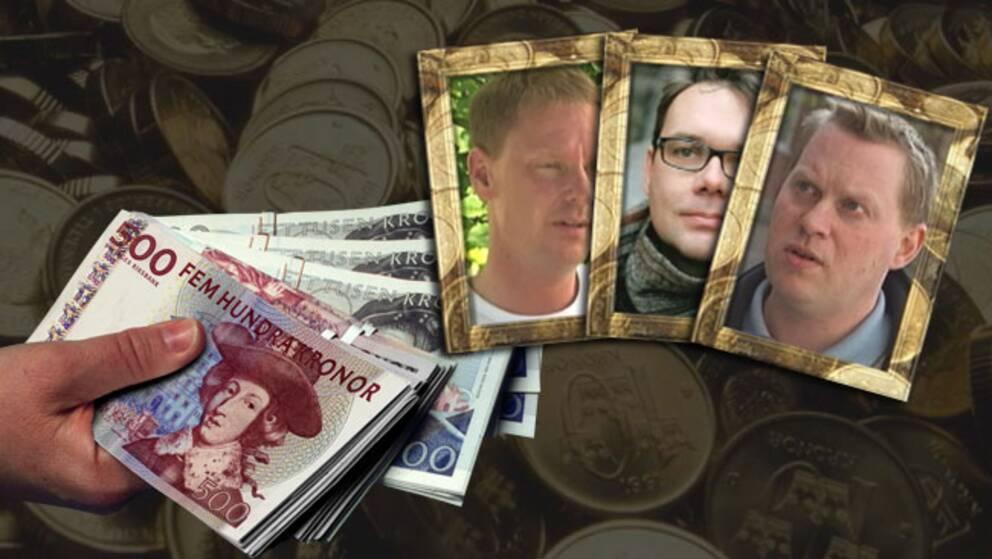 Pelle Svensson (S), 46 , Mattias Ottsson (S), 41, Andreas Porswald (MP), 37 – tre av dem som får pension