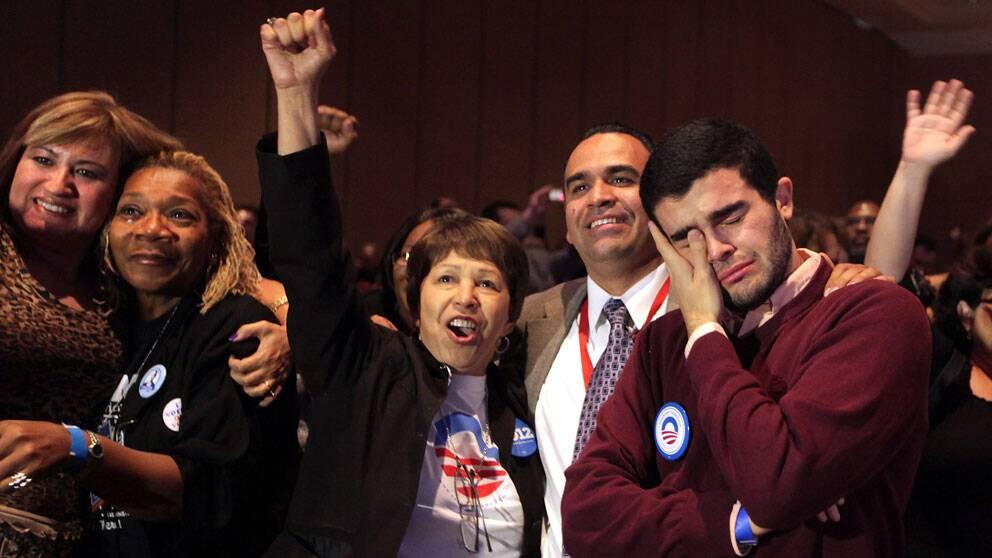 Obamaanhängare firar valutgången i Las Vegas.