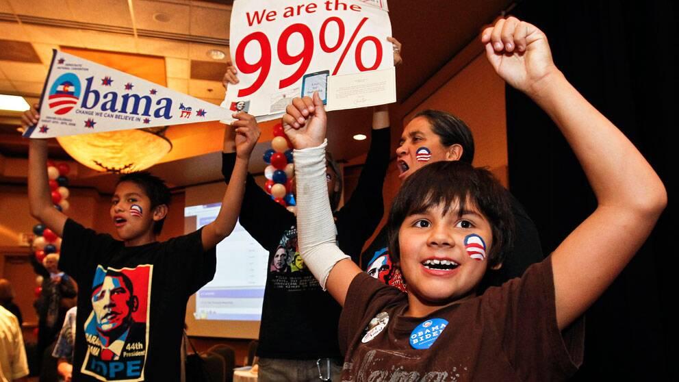 Obamaanhängare i Arizona firar valutgången.