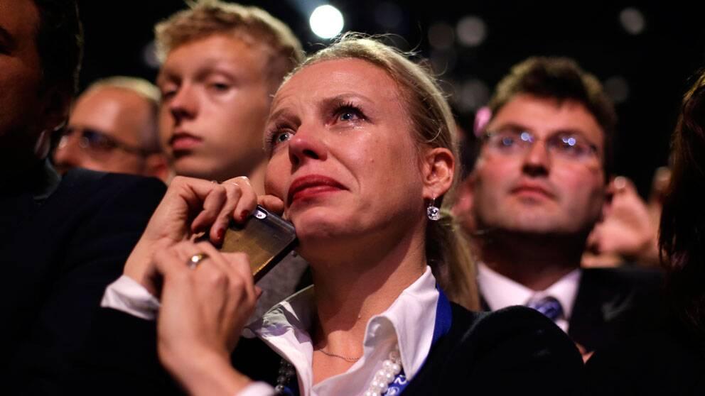 Obamaanhängare i tårar under president Obamas tal.