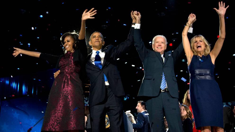 President Obama, frun Michelle, vicepresident Joe Biden och hans fru Jill Biden.