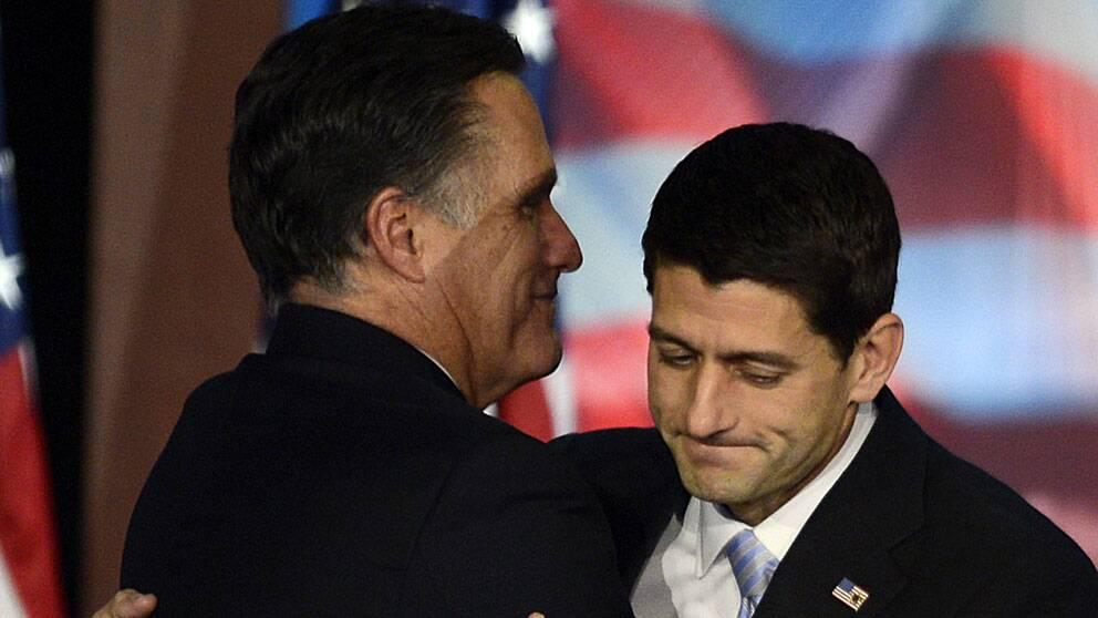 Presidentkandidaten Mitt Romney och Paul Ryan, Boston.