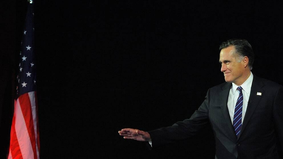 Republikanernas Mitt Romney på scen i Boston, Massachusetts.