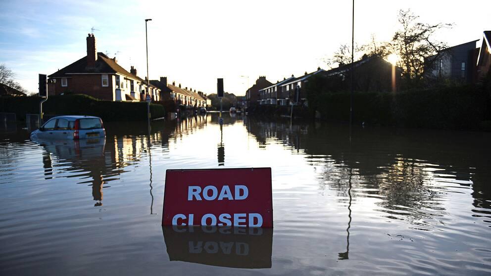 Översvämmat bostadsområde i York.