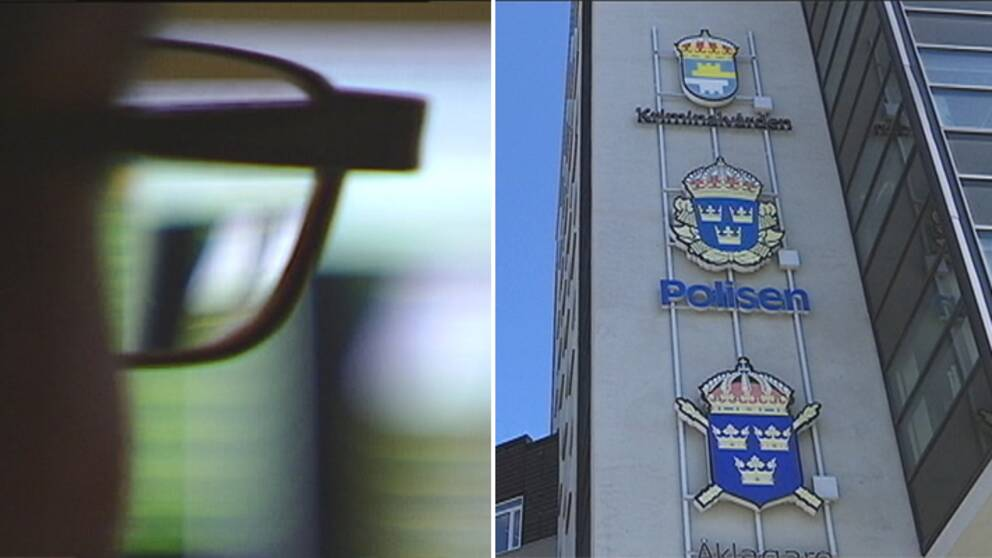 En delad bild. Till vänster en man med glasögon i oskärpa. Till höger fasaden på polishuset i Uppsala med Kriminalvårdens, polisens och Åklagarmyndighetens logotyp på fasaden.