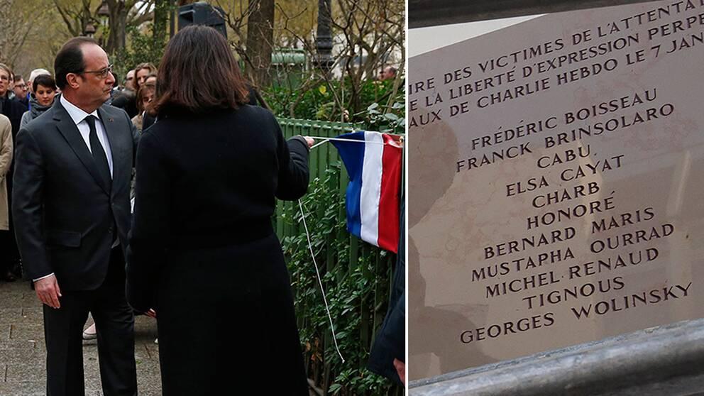 President François Hollande och borgmästare Anne Hidalgo avtäcker en plakett till minne av polisen Ahmed Merabet. Till höger plaketten till minne av offren inne på Charlie Hebdo, med det felstavade namnet Wolinski längst ner.