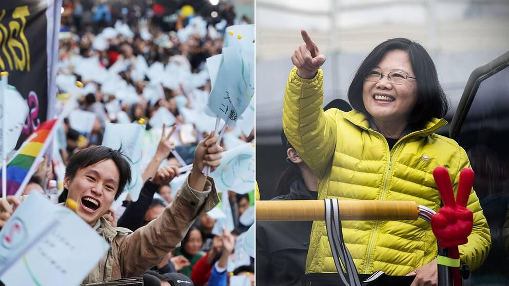 Taiwan tycks få sin första kvinnliga president. Tsai Ing-Wen har när hälften av rösterna är räknade fått nära 60 procents stöd.