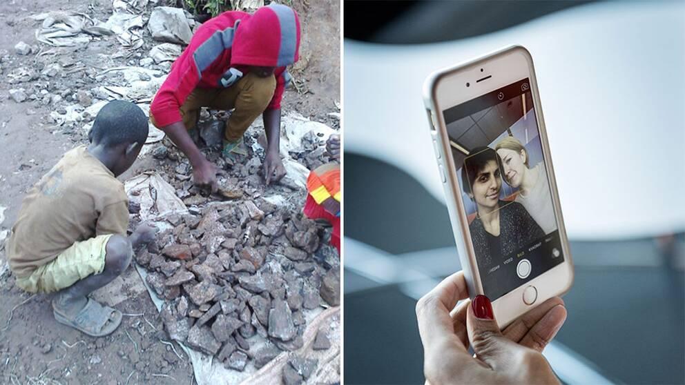 Barn i Kongo-Kinshasa sorterar sten vid en koboltgruva.