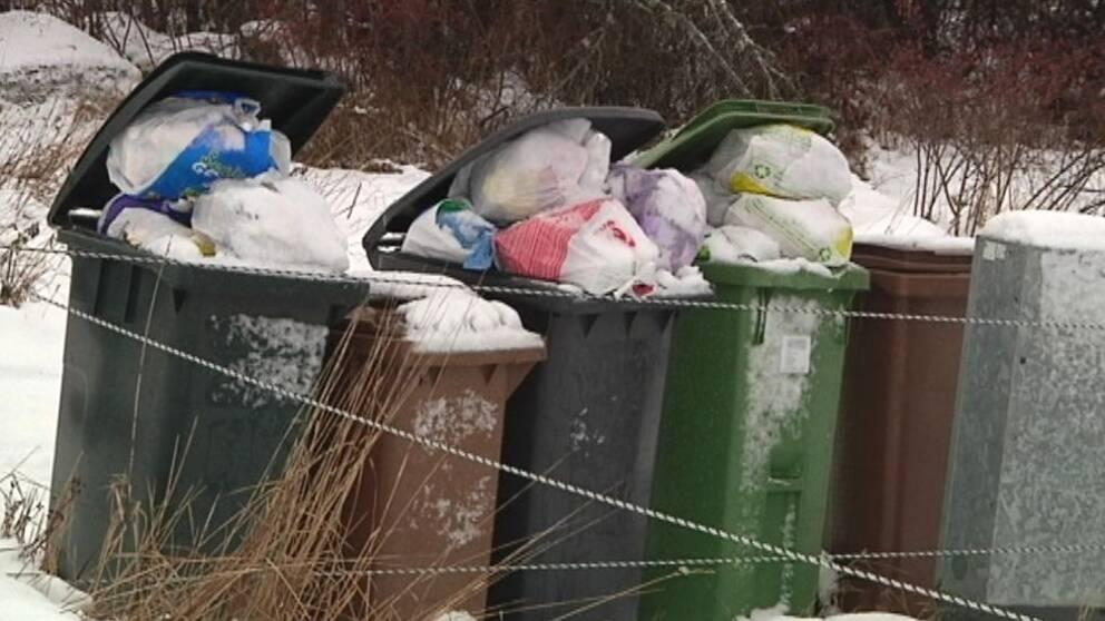 Soptunnor överfulla med soppåsar.