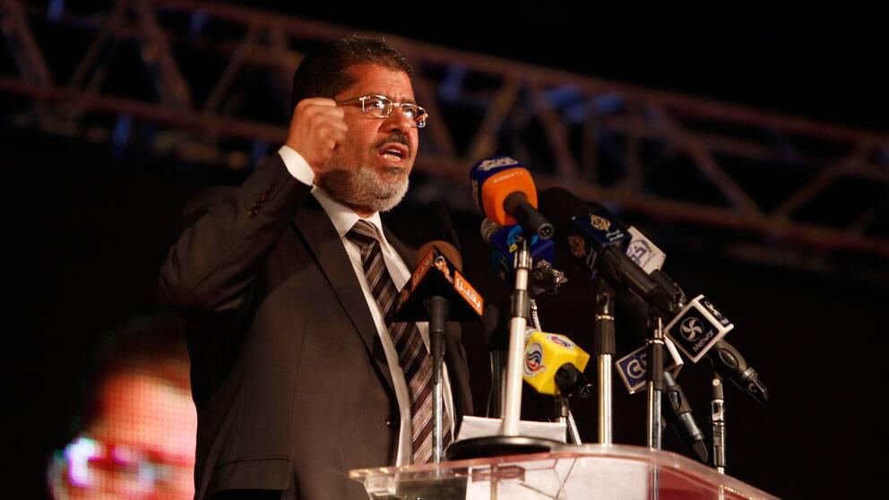 Mohammed Mursi under sin valkampanj i Kairo.