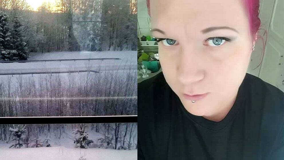 kollage Marina Johansson och bild från tågfönstret