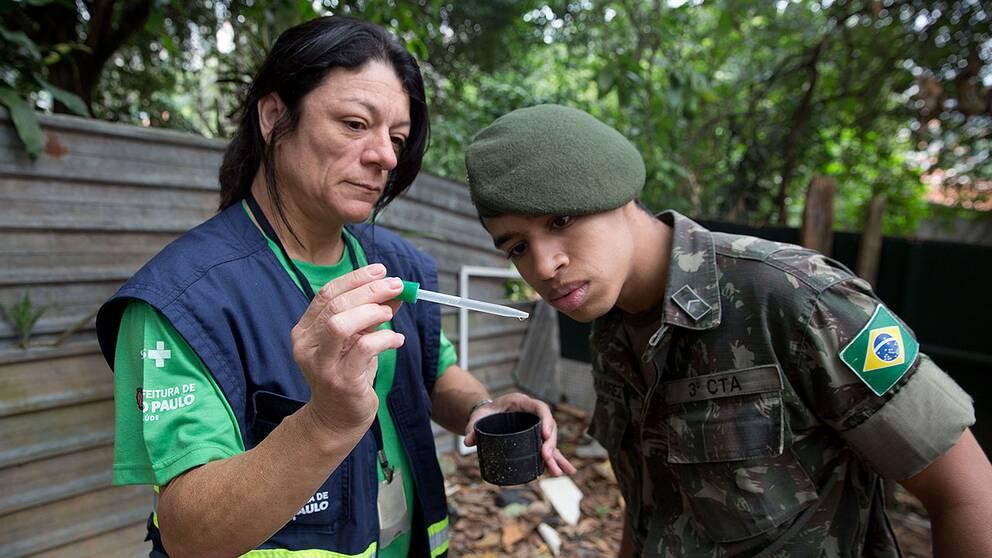 Brasilianska soldater får undervisning om myggsmittan Zikaviruset, som spridit sig snabbt i Brasilien och andra delar av Sydamerika.