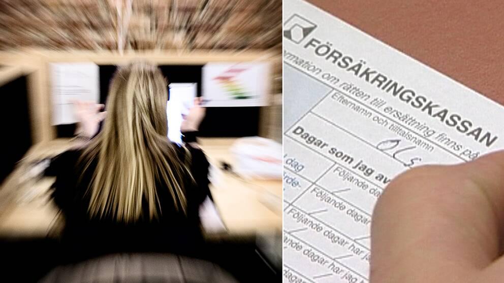 Stressad kvinna framför dator.