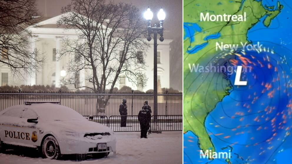 Vita Huset i kraftigt snöfall