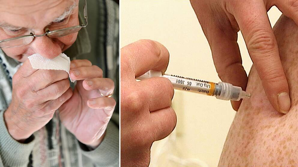 Man som snyter sig. Vaccinationsspruta.