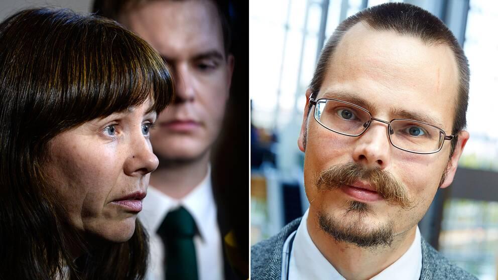 Miljöpartistiska ministrarna Åsa Romson och Gustav Fridolin i regeringen har en annan linje gällande handelsavtalet än Max Andersson (MP) har i Bryssel.