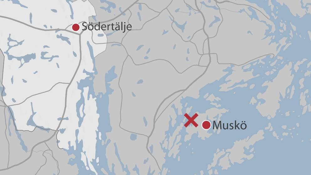 Kryss på karta som visar var mannen hittades