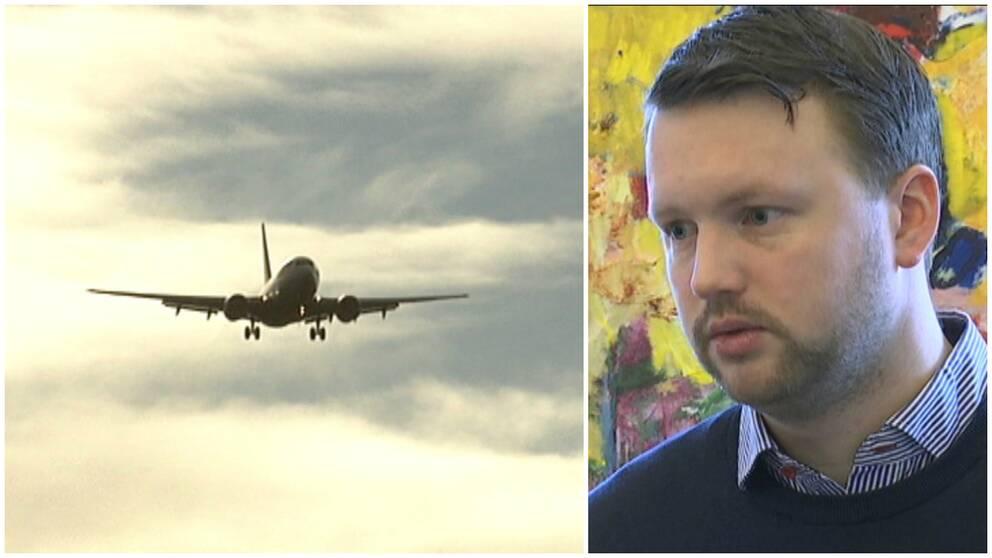 Kommunalrådet Marcus Friberg (MP) säger att antalet flygresor är för högt.