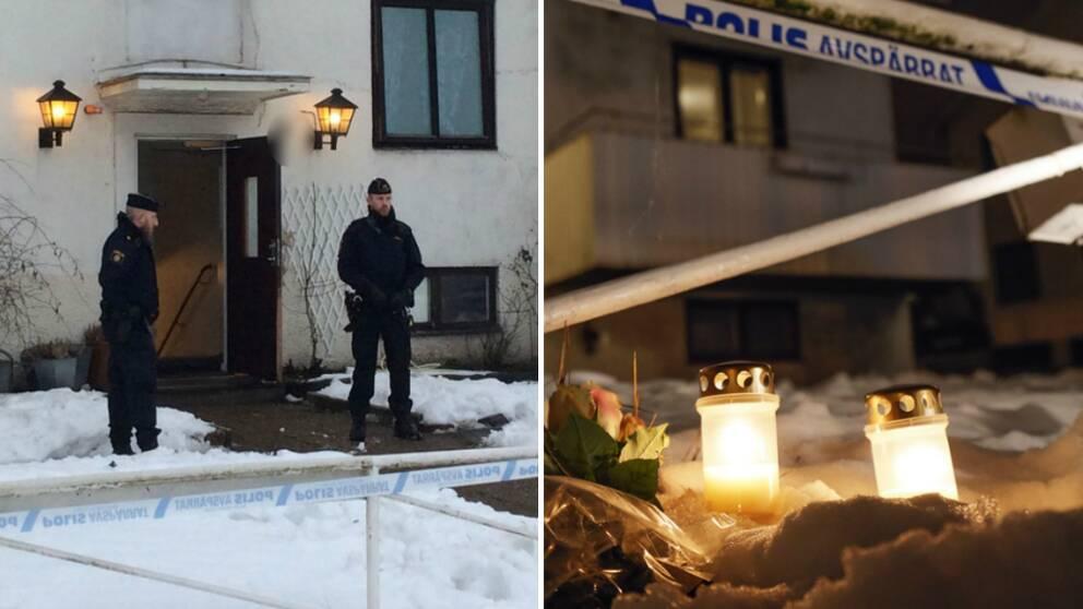 En ung kvinna knivskars så svårt att hon avled på ett boende i Mölndal.