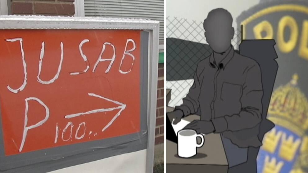"""Skylt med texten """"JUSAB"""". Till höger en animerad bild av person i förgrunden, en polisbricka i bakgrunden."""