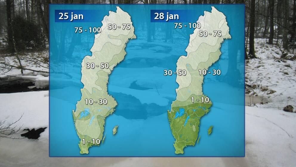 Grov analys av snödjupet i landet den 25 respektive 28 januari.