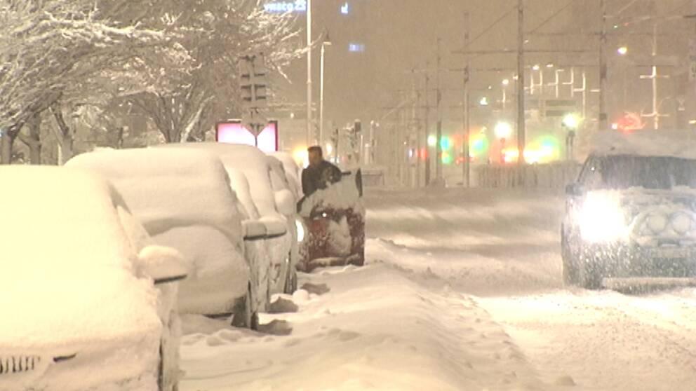 Massor av snö i Göteborg på morgonen den 19 januari.