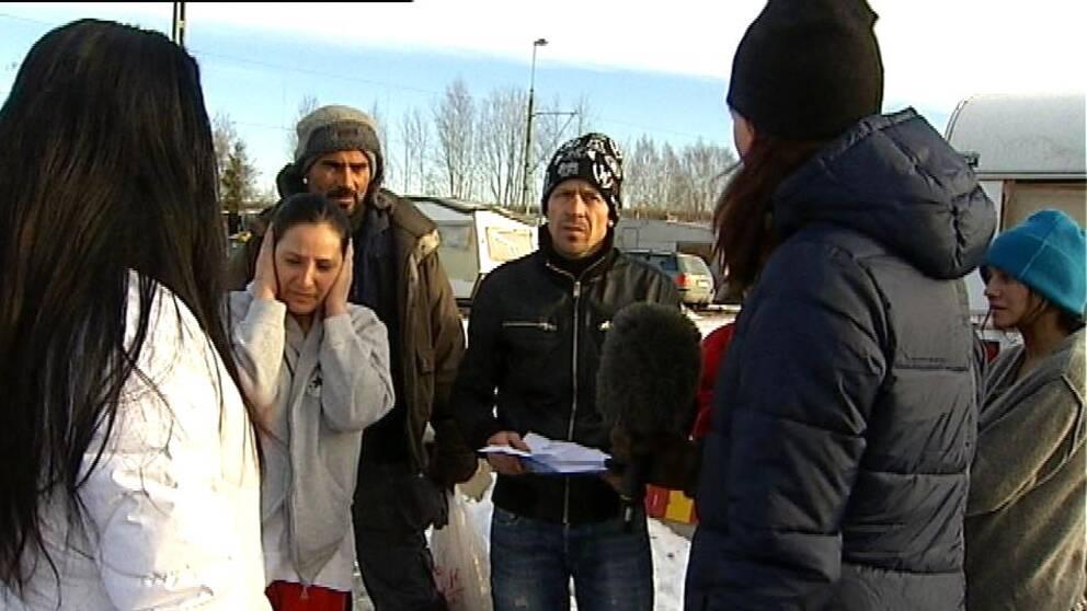 Migranter i husvagnsläger i Sundsvall