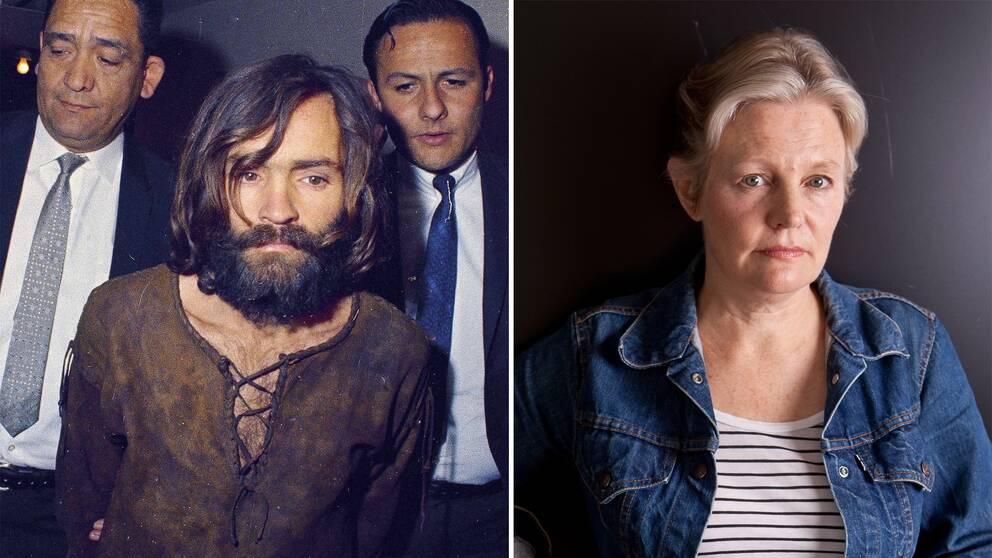 Montagebild på Charles Manson och Mary Harron.