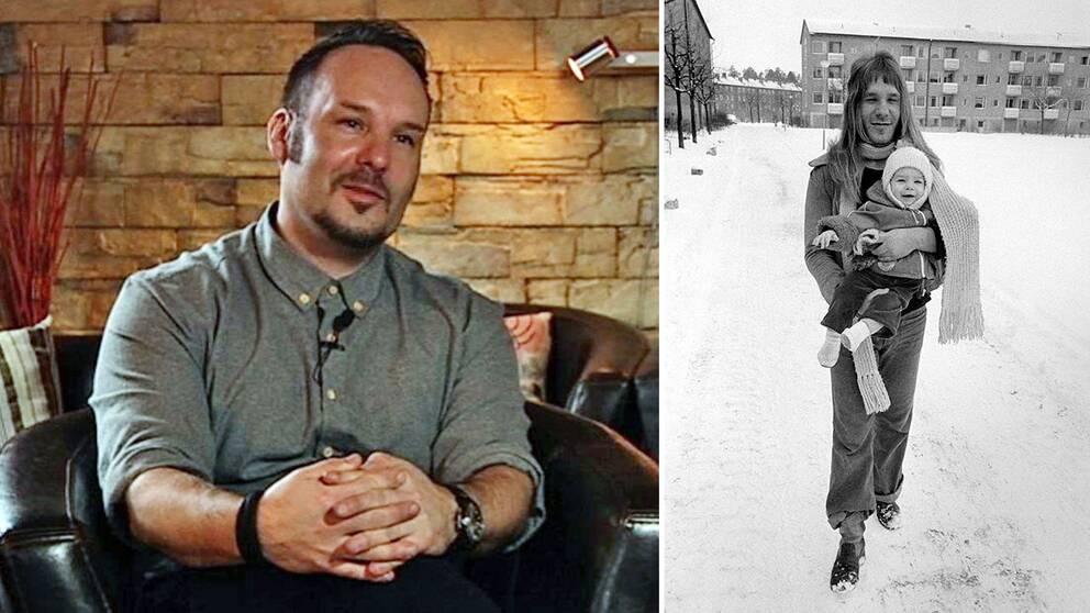 """Janne Löfgren berättar för första gången om sitt liv som Mods-Janne. Till höger syns han som bebis tillsammans med pappa Gustav """"Stoffe"""" Svensson, som hade huvudrollen i Mods-filmerna."""