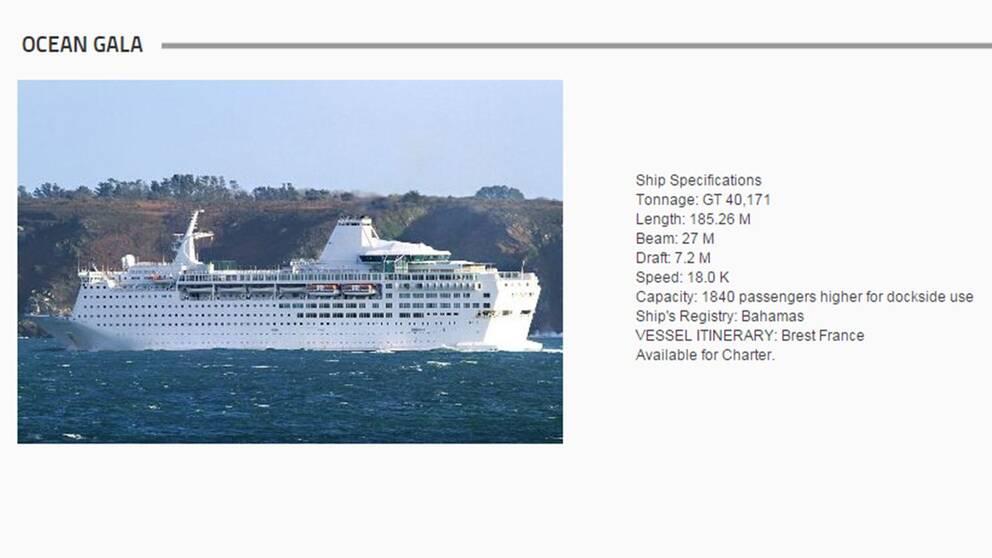 Skärmdump av Ocean Gala på US Shipbrokers hemsida