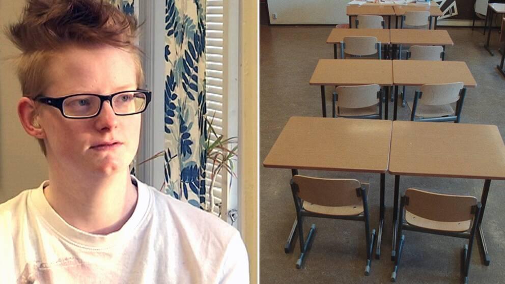 Rebecka Rurfors och tomma skolbänkar