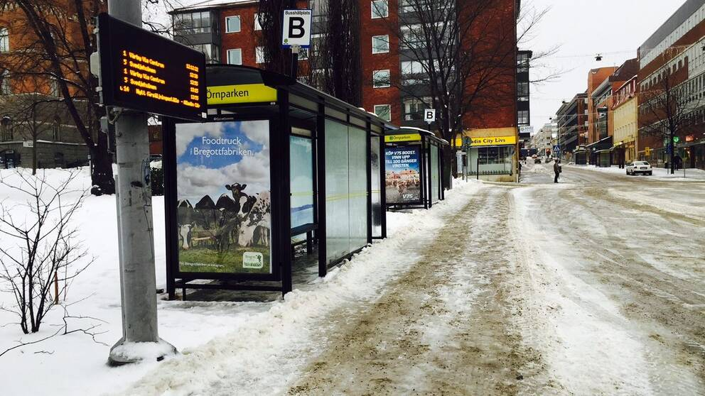 Tomt på bussar på busstorget i Örnsköldsvik