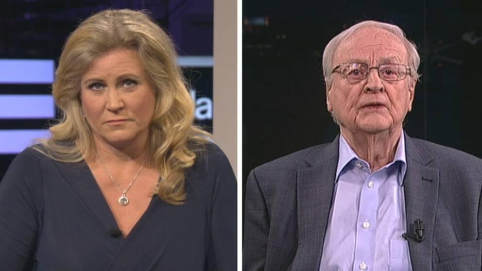 Arvid Carlsson, svensk Nobelpristagare i medicin 2000, intervjuas i Agenda av Camilla Kvartoft om KI-skandalen.
