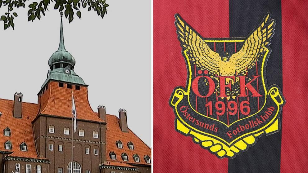 Rådhuset i Östersund och ÖFK:s logga.